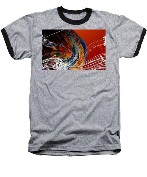 Burning City Sunset Baseball T-Shirt by Thibault Toussaint
