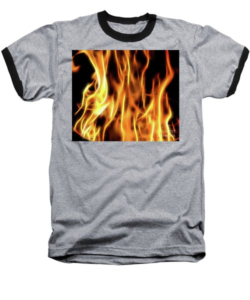 Burning Flames Fractal Baseball T-Shirt