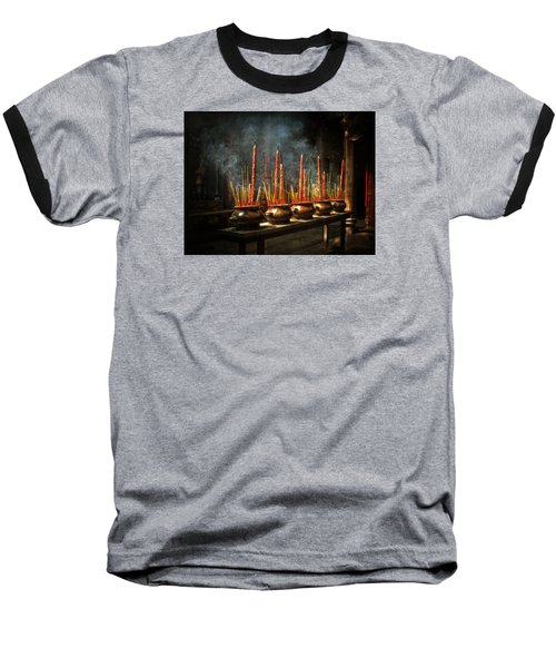 Baseball T-Shirt featuring the photograph Burning Incense by Lucinda Walter
