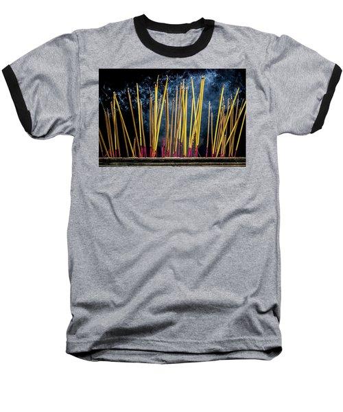 Burning Joss Sticks Baseball T-Shirt by Hitendra SINKAR