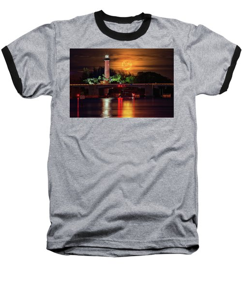 Burning Moon Rising Over Jupiter Lighthouse Baseball T-Shirt by Justin Kelefas