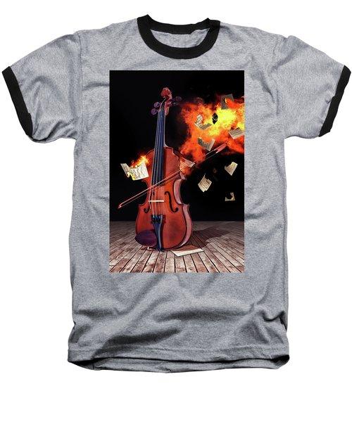 Burning With Music Baseball T-Shirt