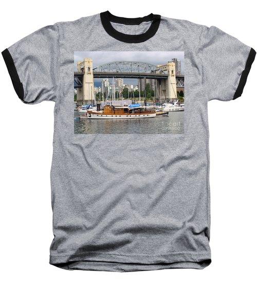 Baseball T-Shirt featuring the painting Burrard Street Bridge, Vancouver by Rod Jellison