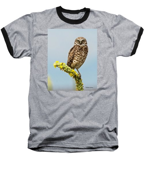 Baseball T-Shirt featuring the photograph Burrowing Owl On Mullein Plant by Stephen  Johnson