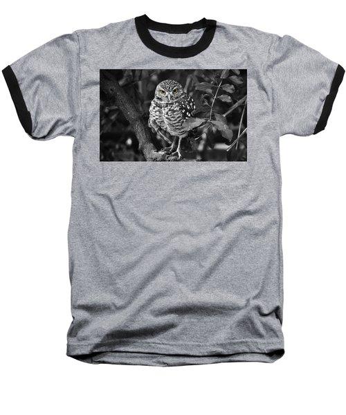 Burrowing Owl  Selective Color Eyes Baseball T-Shirt by Judy Wanamaker