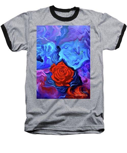Bursting Rose Baseball T-Shirt by Jenny Lee