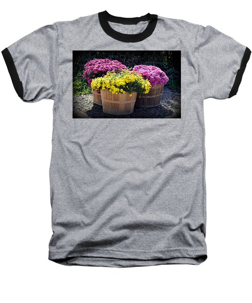 Baseball T-Shirt featuring the photograph Bushels Of Fall Flowers by AJ Schibig