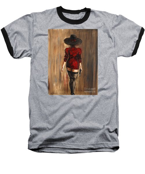 Baseball T-Shirt featuring the painting Business Lady by Arturas Slapsys