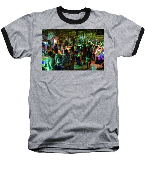 Baseball T-Shirt featuring the photograph Busy Chennai India Flower Market by Mike Reid