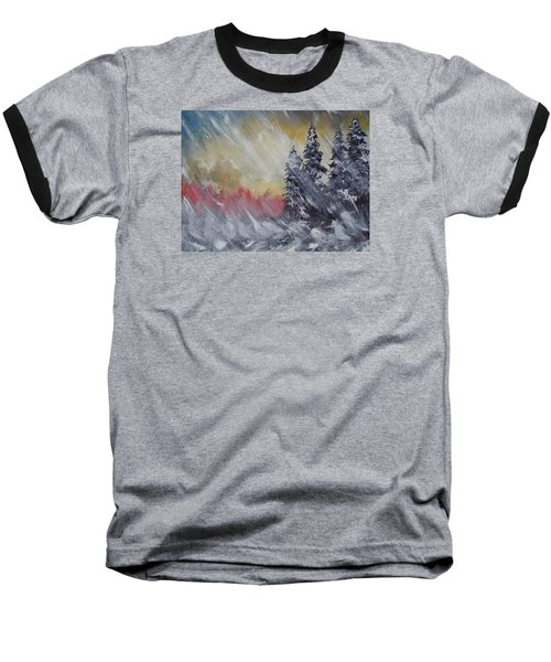 Baseball T-Shirt featuring the painting But The Weather Man Said.... by Dan Whittemore