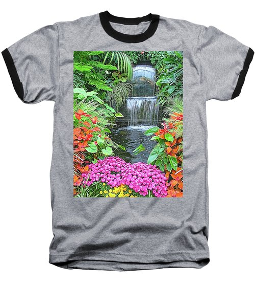 Butchart Gardens Waterfall Baseball T-Shirt by Wendy McKennon
