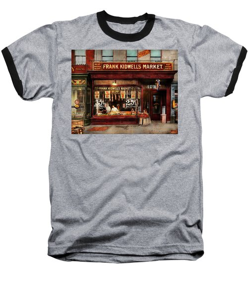 Baseball T-Shirt featuring the photograph Butcher - Meat Priced Right 1916 by Mike Savad
