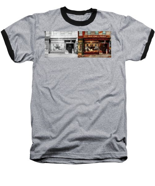 Baseball T-Shirt featuring the photograph Butcher - Meat Priced Right 1916 - Side By Side by Mike Savad