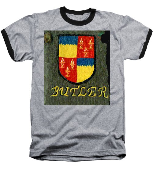 Baseball T-Shirt featuring the painting Butler Family Shield by Barbara McDevitt