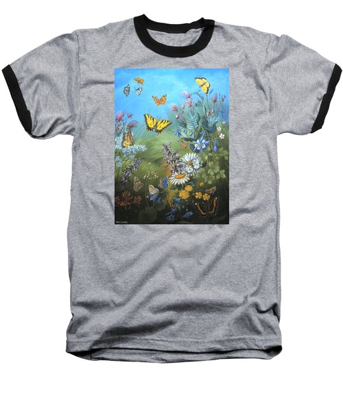 Baseball T-Shirt featuring the painting Butterflies And Wildflowers Of Wyoming by Dawn Senior-Trask