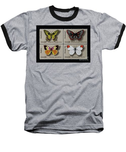 Butterflies Postage Stamp Print Baseball T-Shirt by Andy Prendy