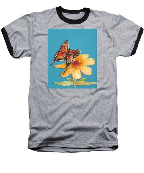 Baseball T-Shirt featuring the painting Butterflower by Denise Fulmer