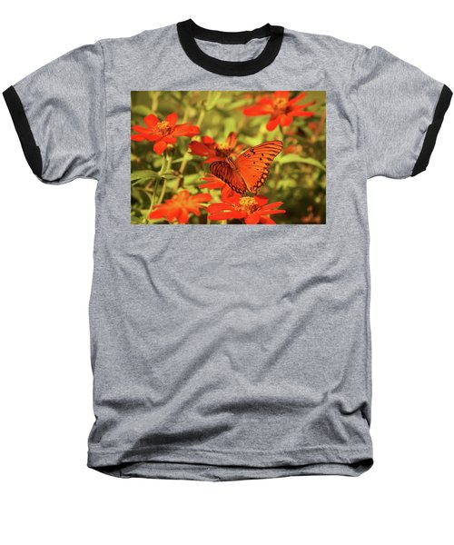 Baseball T-Shirt featuring the photograph Butterfly And Flower II by Donna G Smith