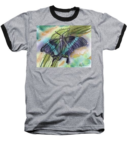 Baseball T-Shirt featuring the painting Butterfly Bamboo Black Swallowtail by D Renee Wilson