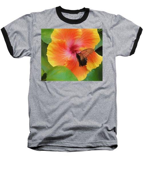 Butterfly Botanical Baseball T-Shirt by Kathy Bassett
