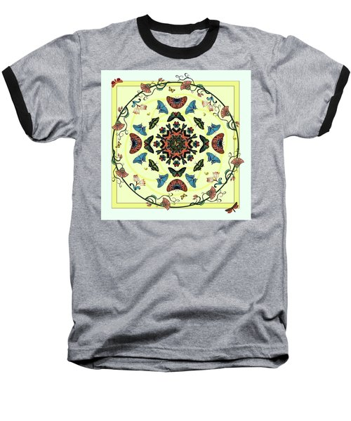 Baseball T-Shirt featuring the digital art Butterfly Garden Abstract by Deborah Smith