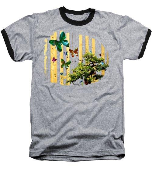 Baseball T-Shirt featuring the digital art Butterfly Garden by Jennifer Muller