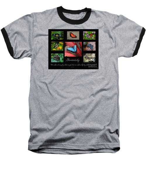 Butterfly Generosity Collage Baseball T-Shirt by Diane E Berry