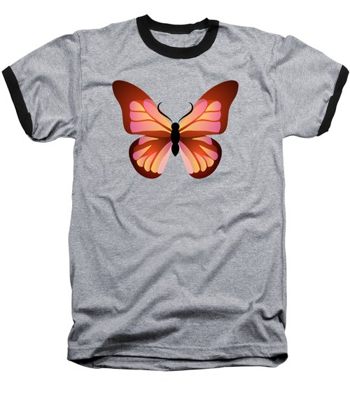Butterfly Graphic Pink And Orange Baseball T-Shirt
