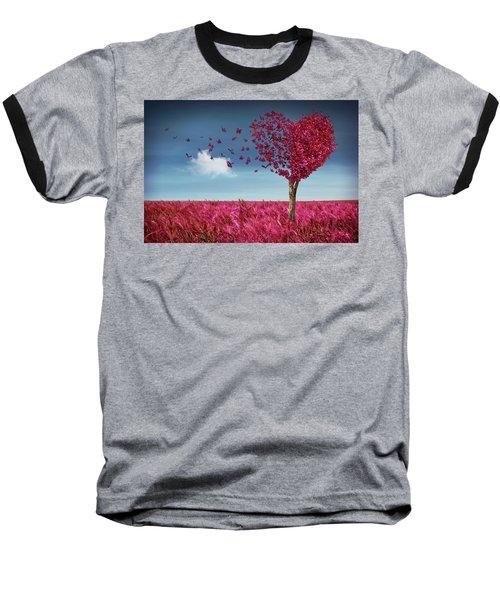 Butterfly Heart Tree Baseball T-Shirt