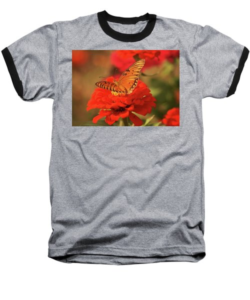 Baseball T-Shirt featuring the photograph Butterfly In Garden by Donna G Smith