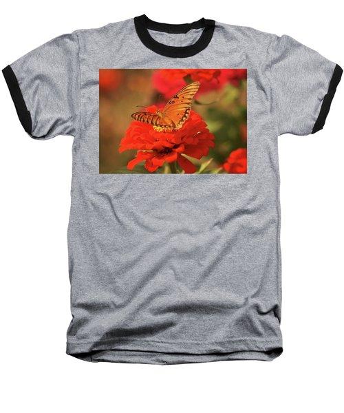 Butterfly In Garden Baseball T-Shirt