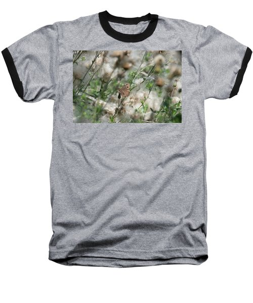 Butterfly In Puffy Seed Heads Baseball T-Shirt