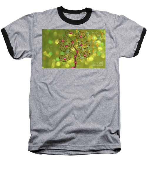 Butterfly Of Heart Tree Baseball T-Shirt by Kim Prowse