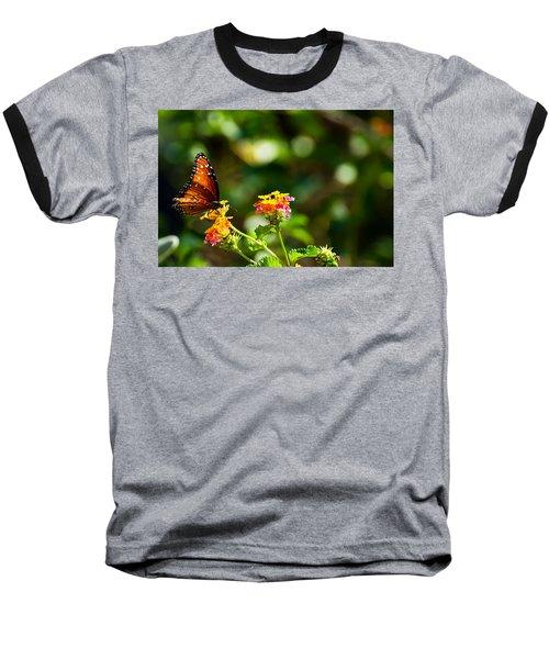 Butterfly On A Flower Baseball T-Shirt