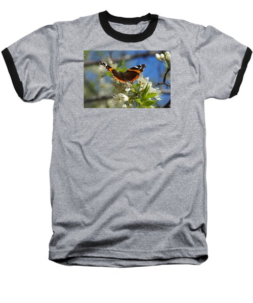 Baseball T-Shirt featuring the photograph Butterfly On Blossoms by Steven Clipperton