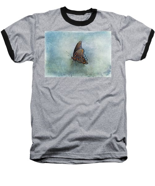 Baseball T-Shirt featuring the photograph Butterfly On Blue by Sandy Keeton