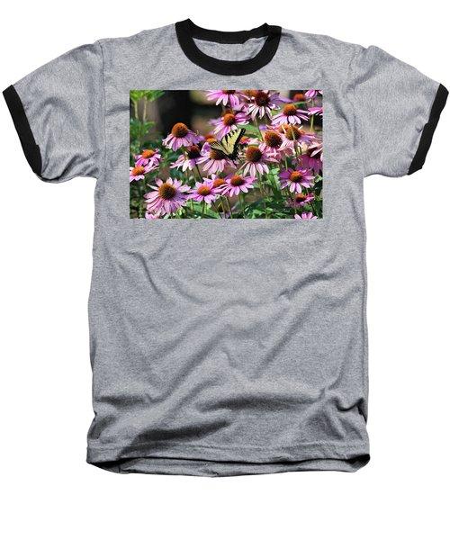 Butterfly On Coneflowers Baseball T-Shirt