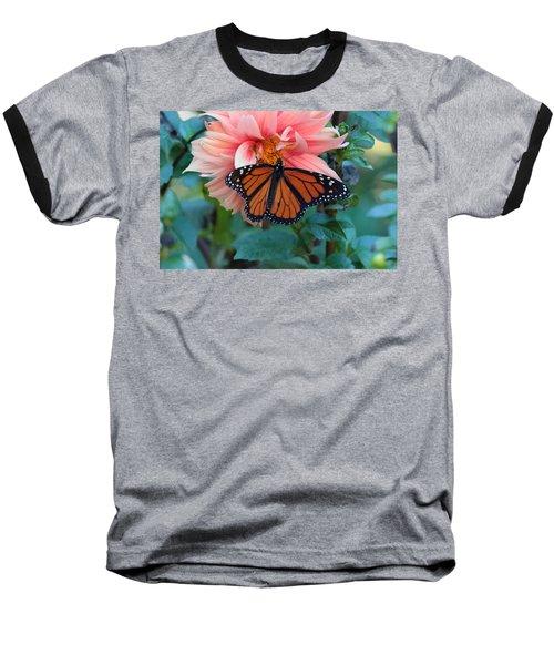 Butterfly On Dahlia Baseball T-Shirt