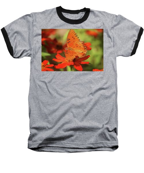 Baseball T-Shirt featuring the photograph Butterfly On Flower by Donna G Smith