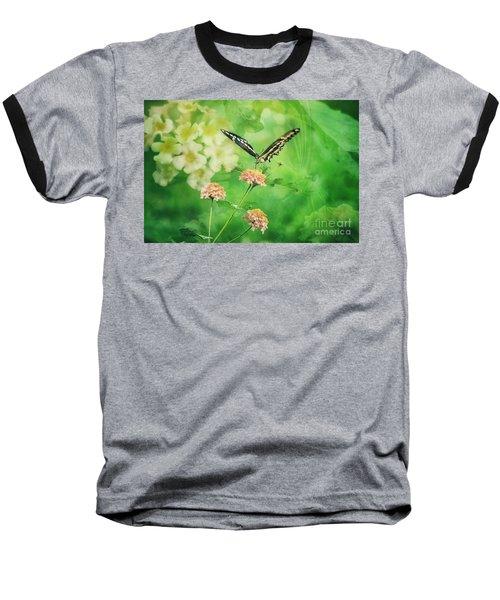Butterfly On Lantana Montage Baseball T-Shirt by Toma Caul