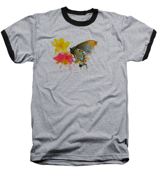 Butterfly On Lantana - Splatter Paint Tee Shirt Design Baseball T-Shirt by Debbie Portwood