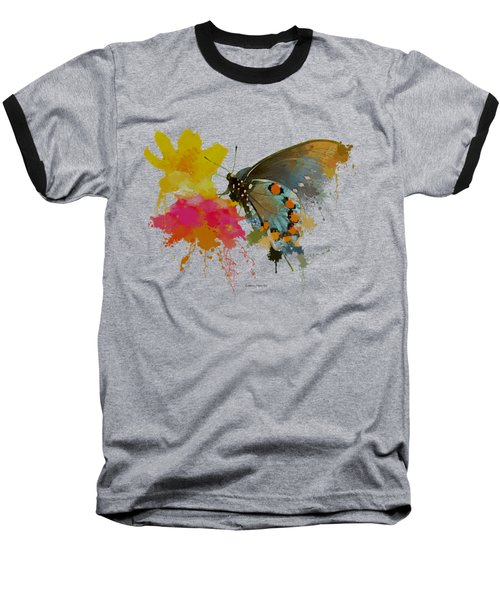 Butterfly On Lantana - Splatter Paint Tee Shirt Design Baseball T-Shirt