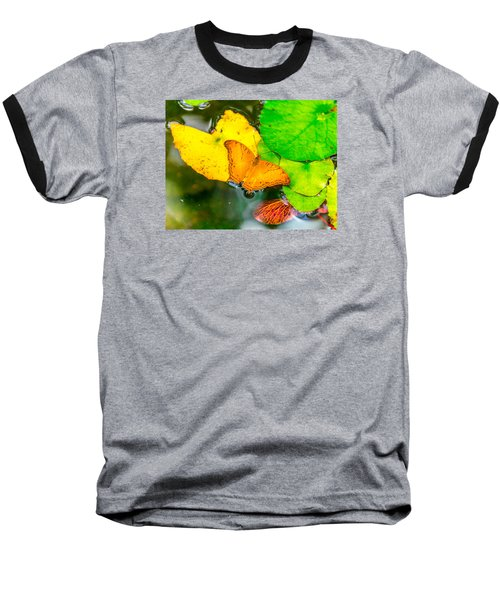 Butterfly On Lilies Baseball T-Shirt by Jerry Cahill