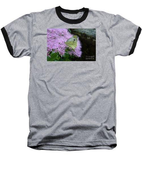 Butterfly On Mauve Flowers Baseball T-Shirt