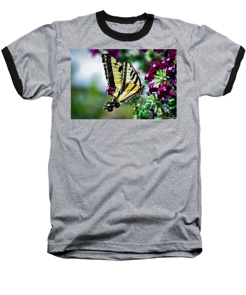 Butterfly On Purple Flowers Baseball T-Shirt