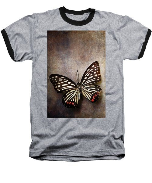 Butterfly Over Textured Background Baseball T-Shirt