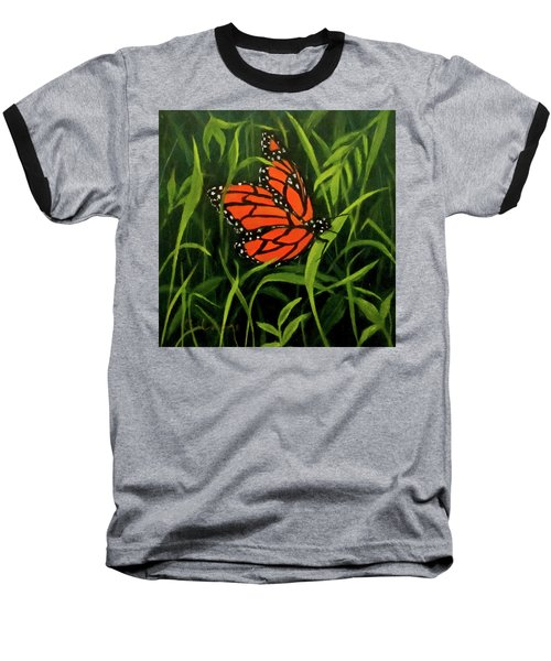 Baseball T-Shirt featuring the painting Butterfly by Roseann Gilmore