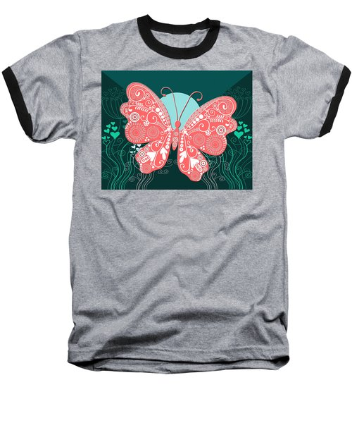 Butterfly Valentine Baseball T-Shirt
