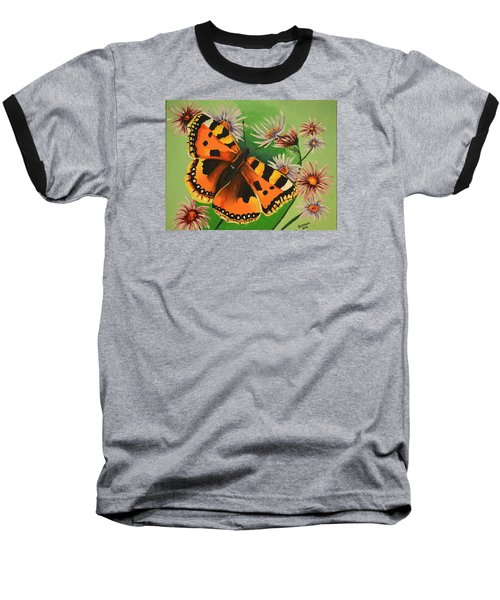 Butterfly With Asters Baseball T-Shirt by Donna Blossom