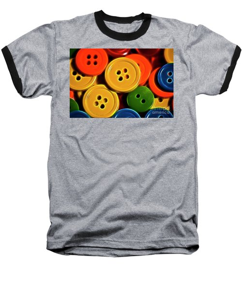 Buttons Baseball T-Shirt by Linda Blair